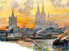 Peinture CARTE POSTALE cathédrale de cologne st Petrus Domkirche River imprimer lv2835