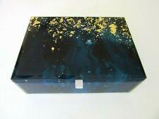 GLASS with GOLD METALLIC FOIL SPLATTER DESIGN GLASS JEWELRY TRINKET BOX ~  New