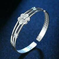 Adjustable 925 Silver Open Crystal Cuff Bangle Bracelet Women Fashion Jewelry