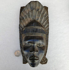 Vintage wooden mask with head-dress Tribal wood carving 10 inch Wall hanging