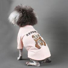 Pink Lovely Bear Print Summer Puppy Tshirt Cotton Pug Pet Costume S-2XL