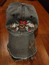 Used & Abused Guy Harvey Pirate Shark Baseball Cap Hat Well Worn Faded Frayed