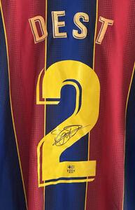 Signed Sergiño Dest Barcelona Shirt EXACT PROOF Autograph American Jersey