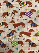 "100% Cotton Dachshund Dogs in Sweaters and Bandanas Fabric Fat Quarter 18""x21"""