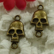 free ship 80 pieces bronze plated skull connector 22x11mm #2894