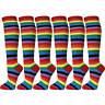 Women Colorful Rainbow Stripes Leg Warmer Soft Tube Knee High Socks(6 pairs)