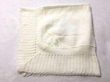 Cradle Knit Vtg White Afghan Baby Blanket Satin Floral Corner Patch Japan
