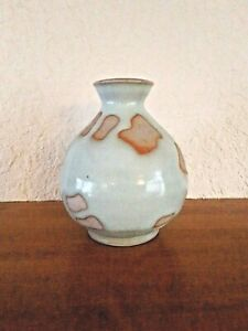 """Vintage Lt Blue & Tan  Arts and Crafts Studio Pottery Vase 4""""  Free Shipping"""
