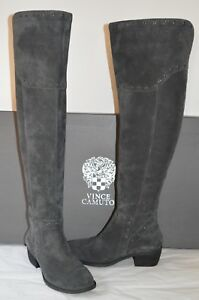 New $200 Vince Camuto Bestan Granite Peak Verona Over the Knee Grey Suede Boots