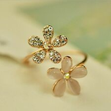 Hot Pink Flower Adjustable Rhinestone Crystal Daisy Ring For Women's Lady
