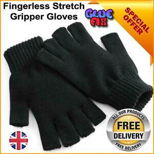 Fingerless Winter Thermal Stretch Gloves Grip Gripper Half Finger Work