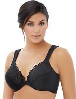 Glamorise Women's Plus-Size Elegance Front-Close Lace Underwire, Blk, Size 46F e