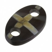 Black Horn Bone Oval Pendant With Cream Cross Design 50mm Pack of One (B42/1)