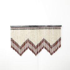Vintage Wood Beaded Curtain Valance Door Topper Hippie Boho Decor