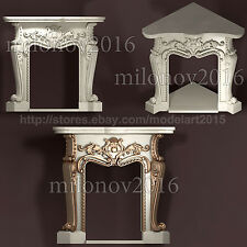 3d stl Model Relief Fireplace for CNC Router Artcam Aspire