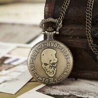 Vintage Skull Pattern Quart Pocket Watch For Men Antique Necklace Chain Boy Gift