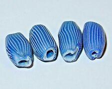 Antique Venetian Blue & White Drawn Onionskin Italian Glass Beads, African Trade