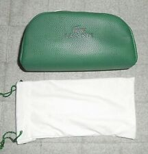 LACOSTE GREEN  SUNGLASSES   CASE WITH POUCH PROTECTOR IN WHITE WITH  ZIPPER NEW