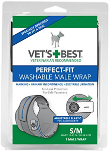Vet's Best Washable Male Dog Diapers | Absorbent Male Wraps with Leak Protection