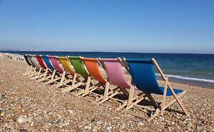 2 x Wooden Deck Chair Folding Sun Lounger Deckchair Garden Beach Deck Chair