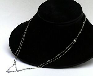 """Heavy Platinum 5.50CT diamond by the yard 48"""" extra long chain necklace"""