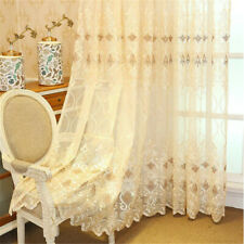 Luxury Flower Embroidered Transparent Sheer Voile Curtain Tulle European Elegant