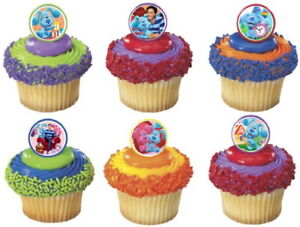 24 BLUE'S CLUES AND YOU Cupcake Toppers Party Favor Rings Birthday