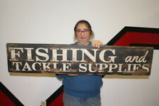 """Large Vintage 1950's Fishing & Tackle Supplies Bait Lure Gas Oil 38"""" Wood Sign"""