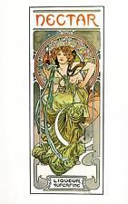 "Alphonse Mucha 1976 Authentic Vintage Art Nouveau Print ""Nectar"" LIBRO Piastra"