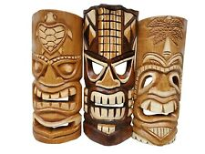 """Set of (3) Wooden Hand carved 12"""" Tall Tiki Masks Tropical Wall Decor!"""