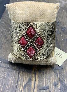 Barse Monte Carlo Cuff Bracelet- Red Jasper- Bronze- NWT