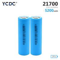 2x 21700 Battery 5200mAh 35A 3.7V Rechargeable High Drain Batteries Flat Top E7