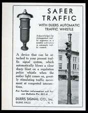 1930 Duers traffic signal stop light whistle photo vintage trade print ad