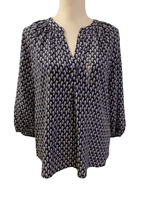 NEW Joie from Stitch Fix Feather Print Silk Shirt Top Navy White Tunic Small