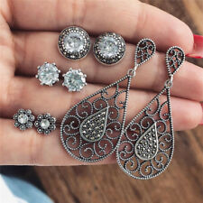 4Pair/Set Lady Bohemian Black Diamond Long Retro Hollow Dangle Stud Earrings NEW