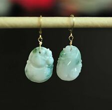 Certified Grade A Icy Jadeite Jade Earrings14K Yellow Gold over 925 Silver