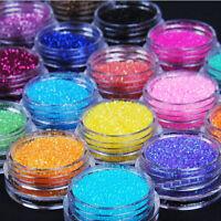 12 Mix Colours Nail Art Craft Acrylic Fine Metal Glitter Powder Pots Tips Decor#