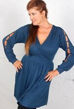 ZD696 DEMIN  BLOUSE TOP DRESS MINI WRAP CROSS OVER JERSEY 2X 3X 4X PLUS SIZE