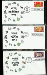 CHINESE NEW YEAR Matching 12 FDCs 1993/2004 Calligraphy Handcolored Only 20 Sets