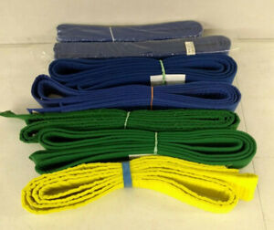 Lot of 7 Martial Arts Taekwondo Karate Belts Blue, Green, Yellow