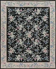 Black Floral 8'x10' Savonnerie Aubusson Needle-Point Chinese Hand-Woven Wool Rug