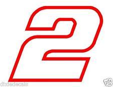 """4"""" Brad Keselowski Number 2 Window Decals Vinyl Stickers 2-color Penske Racing"""