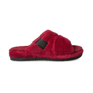 UGG FLUFF YOU SAMBA RED WOOL CASUAL COMFORT MEN'S SLIPPERS SIZE US 9/UK 8 NEW