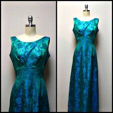 Vintage 50s/60s Emerald Green & Royal Blue Brocade Formal Prom Dress Size S
