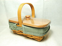 LONGABERGER 2004 Spring Thank You Booking Basket w Sage Liner Wood Lid EUC