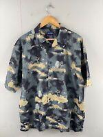 Puritan Men's Vintage Short Sleeve Hawaiian World Map Shirt Size XL Black