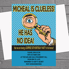 Not a Clue Shhh Surprise Celebration Birthday Party Invitations x 12+env H0198