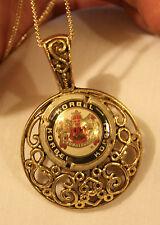 Lovely Openwork Swirl Rim Crested Korbel Wine Cork Goldtone Pendant Necklace