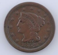 1854 1C Large Cent, Very Fine Condition, All Brown Color, Nice Detail
