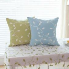 Both Sides Vine Leaves Embroidered Cotton Blend Pillow Case Cushion Cover